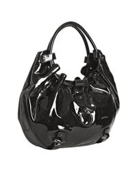 Ferragamo | Black Patent Annabella Gathered Handle Hobo Bag | Lyst