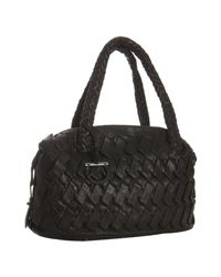 Ferragamo - Black Woven Leather Diana Handbag - Lyst