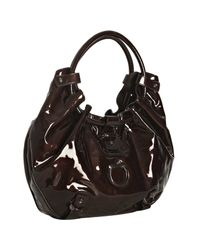 Ferragamo | Brown Patent Annabella Gathered Handle Hobo Bag | Lyst