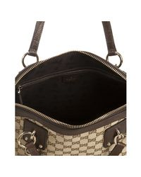Gucci | Brown Gg Canvas Charm Top Handle Bag | Lyst