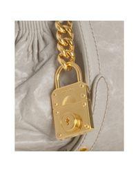 Miu Miu - Gray Dove Grey Nappa Lambskin Small Lock Detail Bag - Lyst