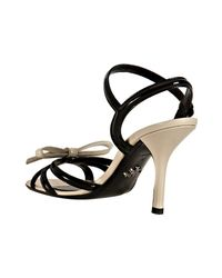 Prada - Black and Ivory Patent Bow Detail Sandals - Lyst