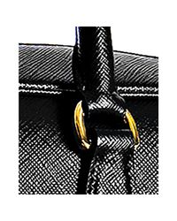 Prada | Black Saffiano Leather Boston Bag | Lyst