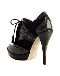 Gucci - Black Patent Trim Suede Riddle Platform Booties - Lyst