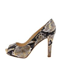 kate spade new york - Multicolor Gwen - Neutral Snake Printed Leather Open Toe Pump - Lyst