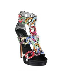 Casadei - Multicolor Crystal Embellished Sandal - Lyst