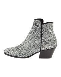 Giuseppe Zanotti - Metallic Glitter Leather Ankle Boots - Lyst