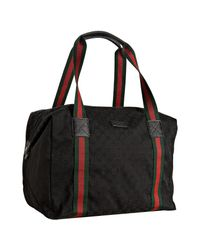 Gucci | Black Gg Canvas Web Stripe Carry-on Bag | Lyst