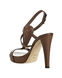 Gucci - Brown Cognac Leather Icon Bit T-strap Platform Sandals - Lyst