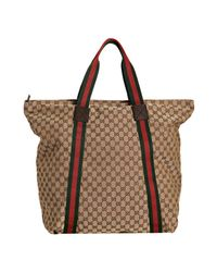 Gucci - Natural Beige Gg Canvas Web Stripe Large Travel Tote - Lyst