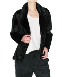 See By Chloé - Black Astrakhan Fur Coat - Lyst