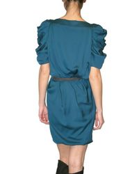 Viktor & Rolf | Blue Silk Satin Puff Sleeve Dress | Lyst