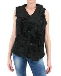 V.sp | Black Reversible Shearling Vest | Lyst