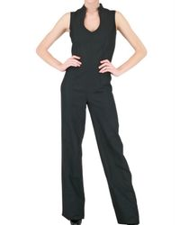 Saint Laurent | Black Silk-blend Gabardine Jumpsuit | Lyst