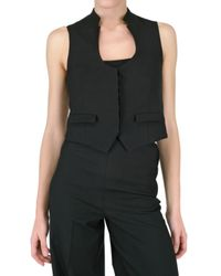 Saint Laurent | Black Wool Silk Gabardine Vest | Lyst