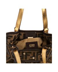 Fendi - Brown Zucca Canvas Mare Star Stud Mini Bag - Lyst