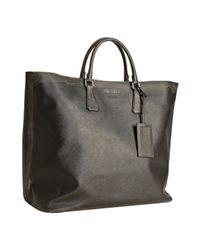 Prada | Gray Smoke Saffiano Calfskin Tote Bag | Lyst