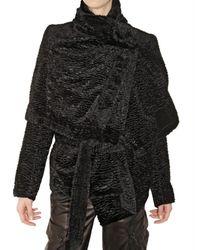 Ann Demeulemeester | Black Eco Astrakhan Fur Coat | Lyst