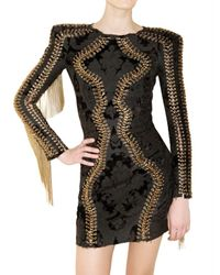 Balmain | Black Brocade Dress | Lyst