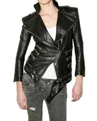 Balmain | Black Leather Motocross Jacket | Lyst