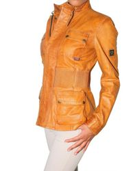 Belstaff - Yellow Long Brian Leather Jacket - Lyst