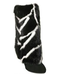Casadei | Black Fur Trim Boot | Lyst