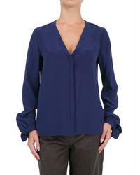 Chloé | Blue Crepe De Chine Bow Cuff Shirt | Lyst