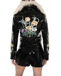 Christopher Kane | Black Embroidered Patent Shearling Jacket | Lyst