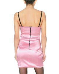 Dolce & Gabbana - Pink Stretch Satin Bustier Dress - Lyst