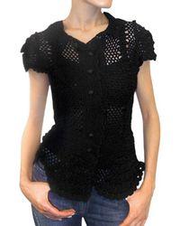 Dolce & Gabbana | Black Crochet Cotton Cardigan Sweater | Lyst