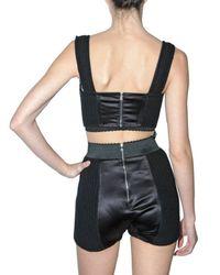 Dolce & Gabbana - Black Ribbed Knit and Satin Bra Top - Lyst