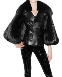 DSquared² | Black Leather and Racoon Cape Fur Coat | Lyst