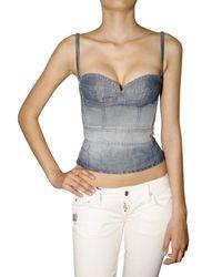 DSquared² | Blue Cotton Linen Denim Bustier Top | Lyst