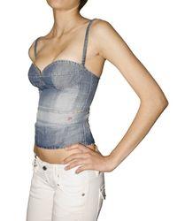 DSquared² - Blue Cotton Linen Denim Bustier Top - Lyst