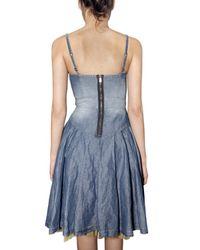 DSquared² - Blue Cotton Linen Denim Dress - Lyst