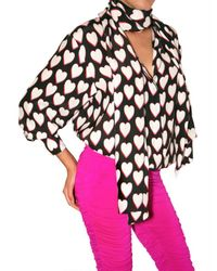 Emanuel Ungaro - Black Heart Print Envers Satin Shirt - Lyst