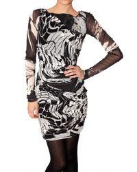 Emilio Pucci | Black Gathered Printed Stretch Gauze Dress | Lyst