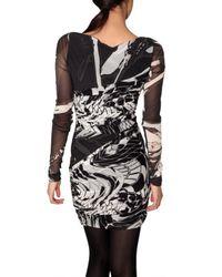 Emilio Pucci - Black Gathered Printed Stretch Gauze Dress - Lyst