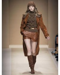 Ferragamo - Brown Long Suede Trench Coat - Lyst