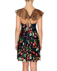 John Galliano | Black Strech Jersey Cherry Printed Dress | Lyst