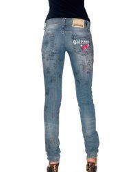 John Galliano - Blue 5pockets Cherry Printed Jeans - Lyst