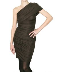 Giambattista Valli | Brown Gathered Jersey One Shoulder Dress | Lyst
