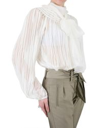 Gianfranco Ferré - White Pleated Voile Chiffon Shirt - Lyst