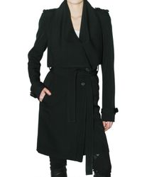 Givenchy | Black Wool Grain De Poudre Trench Coat | Lyst