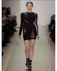 Hervé Léger - Black Jersey Metallic Inserts Dress - Lyst