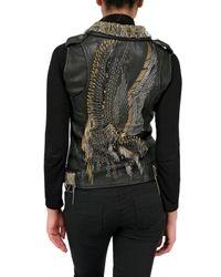 Jo No Fui - Black Nappa Leather Embroidery Vest - Lyst