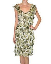 Just Cavalli | Green Leaf Printed Georgette Dress | Lyst