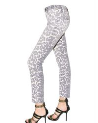 Just Cavalli | White Leopard Print Stretch Denim Jeans | Lyst