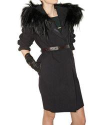 Lanvin - Blue Washed Wool Felt Fur Coat - Lyst