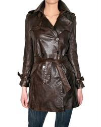 Les Soeurs - Brown Leather Trench Coat - Lyst